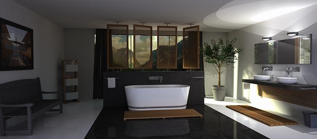 velmi pěkný design koupelny